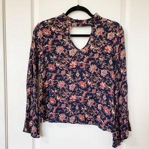 Ing Floral Keyhole Neck Bell Sleeve Women's Top S